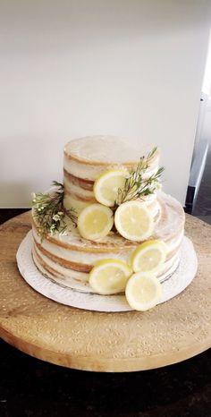 Naked 2 tier lemon cake for lemon themed bridal shower Bridal Shower Cake Sayings, Bridal Shower Cakes Rustic, Simple Bridal Shower, Bridal Shower Desserts, Mermaid Bridal Showers, Mexican Bridal Showers, Summer Bridal Showers, Lemon Wedding Cakes, Lemon Party