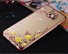 Flower Bling Diamond Case For Samsung Galaxy S6 A5 A7 A8 A9 J5 J7 2015 2016 N7 N3 4 5 Soft TPU Clear Tansparent Phone Back Cover