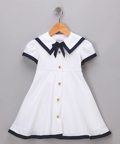 Take a look at this White & Navy Nautical Dress - Girls by Fourth of July Boutique on #zulily today!