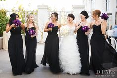 love the black dresses with some purple flowers. Bride should have some colored flowers though