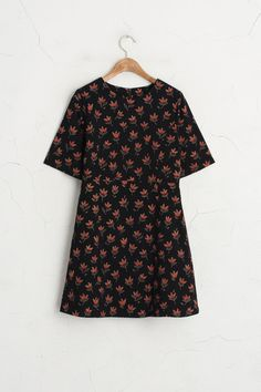 Floral Point Dress, Black, 100% Cotton