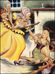 wonderful-strange:  Cinderella illustration by Bill Randall, no date.
