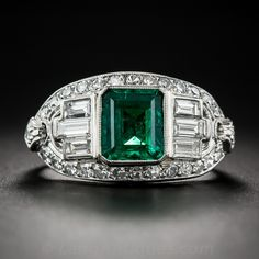 1.50 Emerald and Diamond Art Deco Ring (With Matching Band) - Antique & Vintage Gemstone Rings - Vintage Jewelry