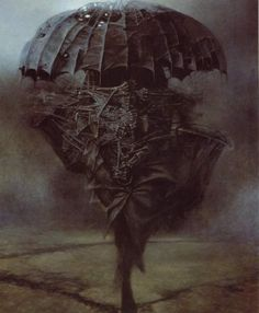 Zdzislaw Beksinski – was a renowned Polish painter, photographer, and fantasy artist. Dark Fantasy Art, Surrealism Painting, Artist Painting, Arte Horror, Horror Art, Art Macabre, Scary Paintings, Dark Art Paintings, Art Sinistre