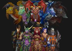 The Dragon aspects. Alexstraza the Life Binder Queen of Dragons(red dragonflight) Ysera the Awakened(green dragonflight) Kalecgos the spellweaver (Blue dragonlight) Nozdormu the timeless one(bronze dragonflight) and Deathwing the Destroyer(Black dragonflight)