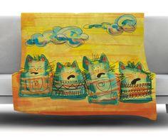 Singing Cats by Carina Povarchik Fleece Throw Blanket