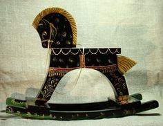 Black horse -  old Russian style painted by hand vintage wooden rocking horse.