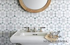 Medina, a natural stone waterjet mosaic shown in Ming Green, Carrara polished and Thassos honed marbles, is part of the Miraflores Collection by Paul Schatz for New Ravenna Mosaics.