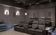 Contemporary Home Theater - Found on Zillow Digs. That's my kind of home theater! Adam Hunter, Basement Movie Room, Black Ceiling, Hamptons House, Home Cinemas, Home Theater, Theatre, Home Improvement, Contemporary