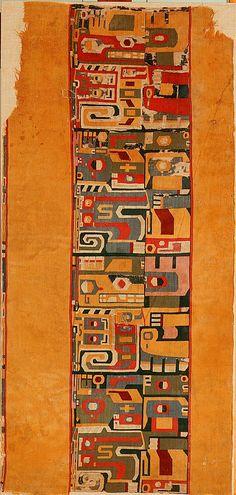 Pre-Columbian Tunic Section Date: century Geography: Peru Culture: Wari Medium: Camelid hair, cotton Accession Number: Peru Culture, Peruvian Art, Ancient Peruvian, Peruvian Textiles, Textile Fiber Art, Inca, Tapestry Weaving, Textile Patterns, Ancient Art