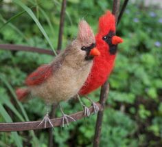 Needle Felted Cardinal Red Bird by ClaudiaMarieFelt on Etsy