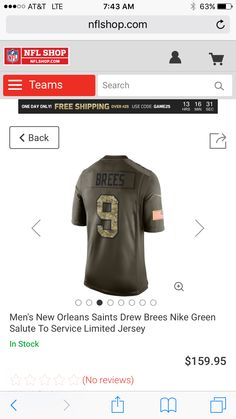 4743d5262 new orleans saints 9 drew brees green salute to service limited jersey