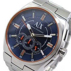 45d852294b1bd7 NIB Armani Exchange AX1800 Chronograph Blue Dial Stainless Steel Mens Watch   200  ArmaniExchange The Best