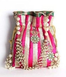 This pink potli bag is perfect with your traditional dresses.The floral and pearl work gives a different look from all the other bags.