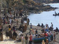Extras and crew on beach near Bizerte. Roman Mysteries on location in Tunisia, Sept 2007. https://itunes.apple.com/gb/tv-season/roman-mysteries-series-1/id404814654?ign-mpt=uo%3D4
