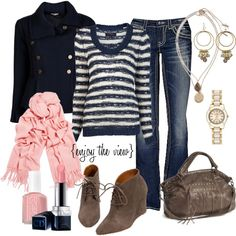 """navy & pink"" by enjoytheview on Polyvore"