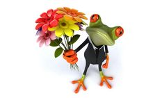 Frog with flowers. 3D