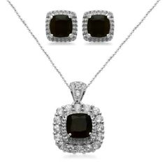 """Sterling Silver Cushion Onyx with Created White Sapphire Accents Pendant Necklace and Earrings Diamond Box Set Amazon Curated Collection. $71.00. Made in India. Length of Pendant:18"""", Length of Earring:0.29"""",Height of Pendant:0.96"""",Width of Pendant:0.57"""", Width of Earring:0.29"""""""