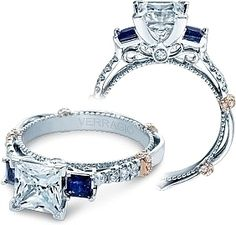 Verragio Diamond and Sapphire Engagement Ring in Platinum CL-DL124P This is the one!