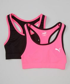 d08762a6e8a62 Love this Pink  amp  Black Sports Bra Set - Girls on  zulily!