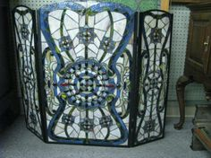 Stained Glass Fireplace Screen : Lot 414