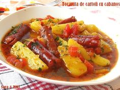 Potato stew with sausages Egg Recipes, Cooking Recipes, Healthy Recipes, Fish And Eggs Recipe, Stewed Potatoes, Romanian Food, Food Design, Food To Make, Food And Drink
