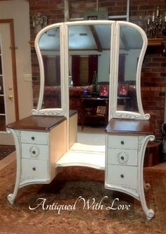 Vanity Makeover By Antiqued With Love - Featured On Furniture Flippin'