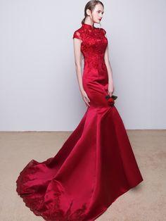 8095201e3 Wine Red Beaded Qipao / Cheongsam Dress with Mermaid Train. Evening Dresses  ...