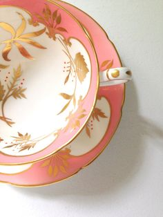 Antique Royal Grafton Fine Bone China Tea Cup and Saucer in Blush Pink and white with gold pattern