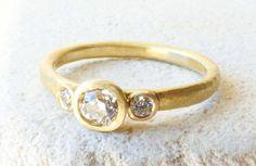 Three Stone Diamond Engagement Ring. Old Mine by ShaktiEllenwood