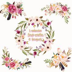 1 Watercolor flower wreathes & 4 flower bouquet, Floral Frame PNG, wedding bouquet, arrangement, bouquet, digital paper, green flowers, bridal shower, for blog banner
