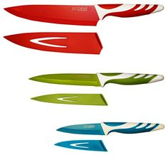 Kitchen Knives with Sheaths ?€? Quality Kitchen Knife Set - Paring, Utility, Chef Knife - Non-Stick Coating for Easy Cutting and Cleaning - Colored Extra Sharp Stainless Steel Blades - Non-Slip Handle
