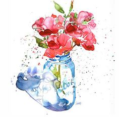 Flowers in a Mason jar  I would love a watercolor of this mason jar for my entry/laundry room.