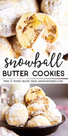 These Pecan Snowball Cookies are an absolute Christmas classic! Theyre melt-in-your-mouth tender filled with chunks of pecans and look so pretty! Homemade Desserts, Delicious Desserts, Yummy Food, Sweet Desserts, Chocolate Chip Shortbread Cookies, Toffee Cookies, Quick Cookies, Yummy Cookies, Baking Recipes