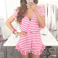 Tinsley's the perfect preppy pink and white striped playsuit.