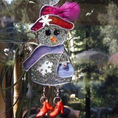Christmas Stained Glass Holiday Glass Snowman Red Hat by GlassCat, $22.50