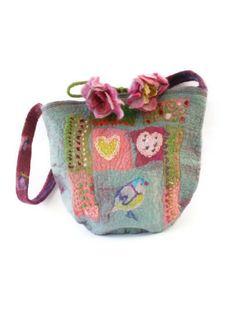 Felted Bag Purse Teal Pink Patchwork Effect Felt ★by FrouFrouFelt