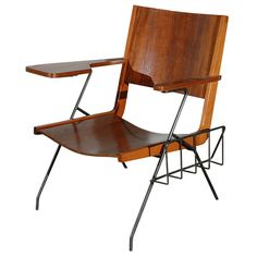 For Sale on - Pierre Guariche iron feet and walnut seat chair with attached magazine rack Mid Century Style, Mid Century Modern Design, Mid Century Modern Furniture, Shelf Furniture, Cool Furniture, Luxury Furniture, Furniture Styles, Furniture Design, Metal Storage Cabinets