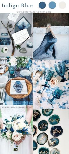 Blue Wedding Flowers Indigo blue and white bohemian wedding color ideas Blue Wedding Rings, Yosemite Wedding, Deer Pearl Flowers, Wedding Color Schemes, Blue Wedding Themes, Blue Wedding Colors, White Wedding Decorations, Wedding Planners, Unique Weddings