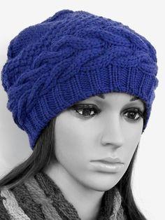 Вязаная шапка бини, вязаная шапка носок, объемная вязаная шапка, шерстяная вязаная шапка, шапка с аранами, синяя шапка, вязаная шапочка
