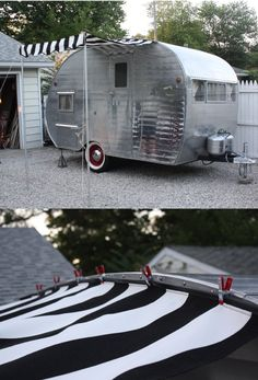 Add an awning without a rail [http://littlevintagetrailer.com/2012/07/how-to-add-an-awning-on-a-trailer-with-no-awning-rail/]