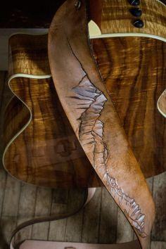 Sierra Nevada Mountains Custom Leather Guitar Strap   Linny Kenney