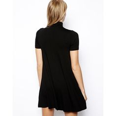 ASOS Petite High Neck Swing Dress Stretchy. Short sleeves. Trapeze-esque shape. Worn only once or twice. ASOS Dresses Mini