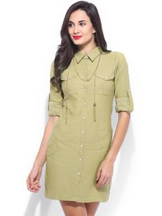 Buy TheLabelLife.com Khaki Shirt Dress -  - Apparel for Women from TheLabelLife.com at Rs. 3490