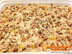 Peach Crunch Coffee Cake – Can't Stay Out of the Kitchen Pear Yogurt, Yogurt Cake, Peach Coffee Cakes, Powdered Sugar Icing, Peach Bread, Streusel Cake, B Recipe, Layered Desserts, Recipe Filing