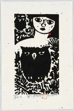 Girl and Owls  by Iwao Akiyama