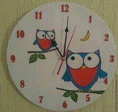 "Часы для дома ручной работы. Ярмарка Мастеров - ручная работа Часы ""Совы"". Handmade."