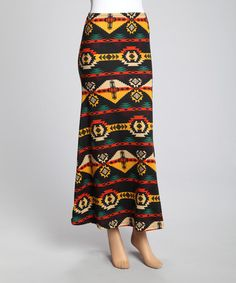 Loving this Black & Yellow Tribal Maxi Skirt on #zulily! #zulilyfinds Now only $9.49