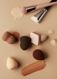 Fenty foundation textures and swatches resting on a beige background Makeup Photography, Still Life Photography, Beauty Bar, Beauty Makeup, Makeup Wallpapers, Brown Aesthetic, Texture Photography, Makeup Brush Set, Color Inspiration