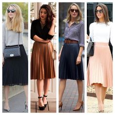I've previously spoken about sweatshirts on pleated skirts. Here's some inspiration of simple ways to sport a pleated skirt for an elegant look. Work Fashion, Modest Fashion, Skirt Fashion, Fashion Outfits, Womens Fashion, Elegantes Business Outfit, Work Skirts, Work Dresses, Fall Skirts